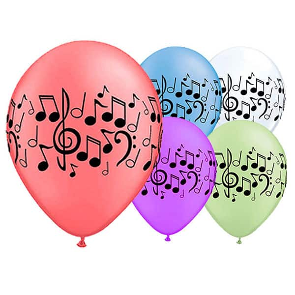 Sortierte Neon Musik Noten Latex Qualatex Ballon - 11 Zoll / 28Cm