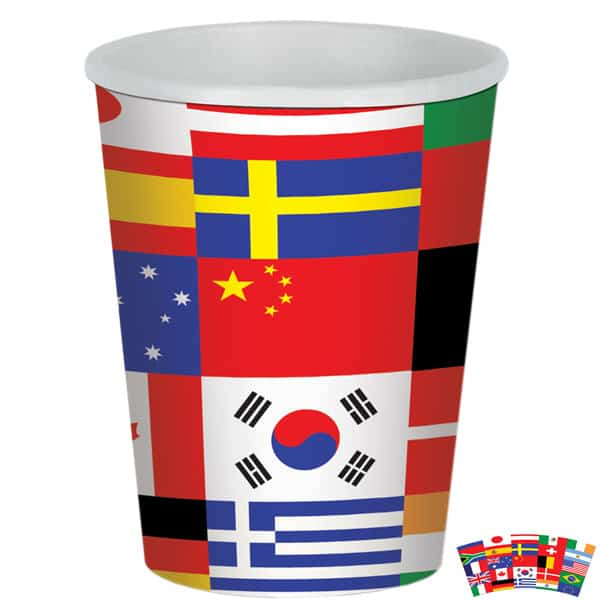 Internationale Flaggen Thema Pappbecher 266Ml