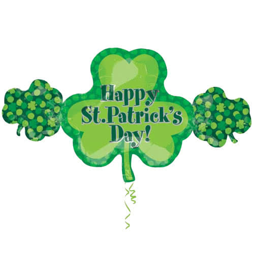 Happy St. Patricks Day Shamrock Trio Heliumfolie Riesenballon 96Cm